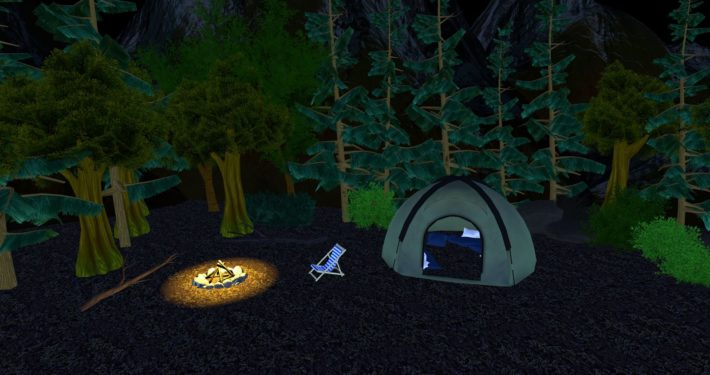 Campsite environment, in the forest