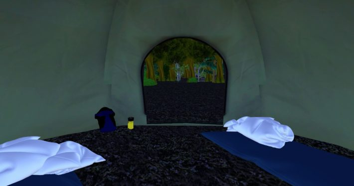 Starting point inside the tent, in the Forest environment